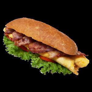 Sandwich Ciabatta mit Omlett Bacon