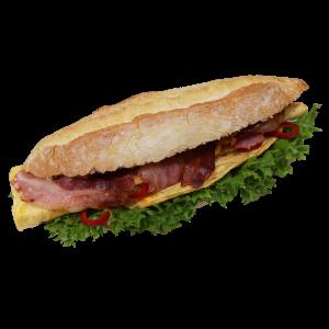 5er-Rustikales Weizenbaguette mit Omlett und Bacon